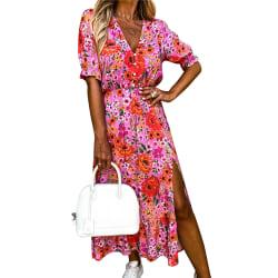 Kvinnors Klänning Kortärmad V-ringad klänning Holiday Floral Dress #6 S