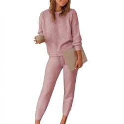 Dam Plain Lounge Wear Set 2 PCS Träningsoveraller ärmkläder Pink XL