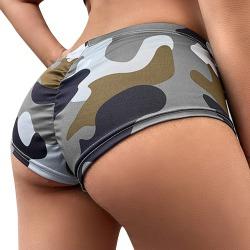 Kvinnors sexiga sommar Camo Yoga Shorts Fitness Hot Pants Grey M