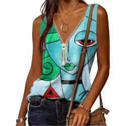 Kvinnors ärmlösa dragkedja V-ringning Cami Tank Tops T-tröjor Light Blue 5XL
