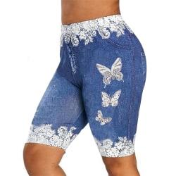 Kvinnors sommartryckta shorts Casual sportshortsbyxor