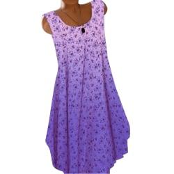Kvinnors sommar ärmlös blommig klänning Gradient Swing Holiday Purple XL
