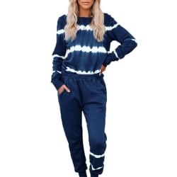 Kvinnor Tie Dye långärmad huva toppar + byxor Set kostym Navy Blue M