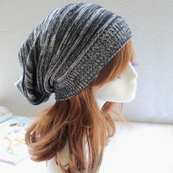 Kvinnors vintermode stickad baggy mössa Oversize hattar Ski Black - White