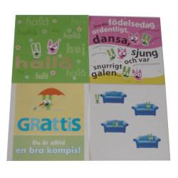 Budskapskort kort med kuvert 4-pack multifärg
