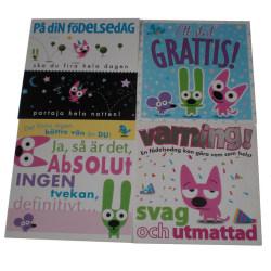 Grattis kort med kuvert 4-pack multifärg, multifärg