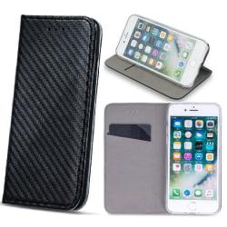 LG K10 (2018) - Smart Carbon Fodral Mobilplånbok - Svart Black
