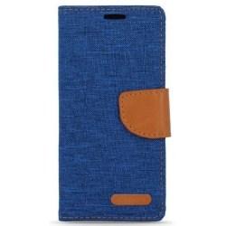 LG K8 (2016) - Smart Canvas Fodral Mobilplånbok - Mörkblå Mörkblå