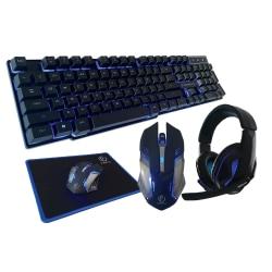 Rebeltec Gaming Set - Tangentbord + Hörlurar + Mus + Musmatta  Svart