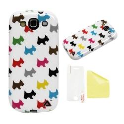 Samsung Galaxy S3 JELLi Puppy Love Skydd Skal + Displayskydd Vit