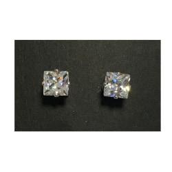 Magnet örhängen med stenar (fyrkantiga stenar) silver 7mm