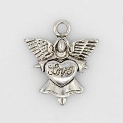 12 st. Ängelformade nickelfra silverpläterade berlocker