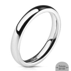 3 mm. bred slät convex ring i Glansig Spegel Polerad  316L stål Size 5½ = 16,10 mm. i diameter