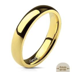 4 mm. bred slät convex ring i guldpläterad 316L stål  Size 11 = 19,76 mm. i diameter