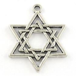 6 st. Davidsstjärna formade nickelfra silverpläterade berlocker