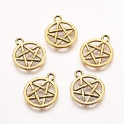 6 st. Nickelfra  guldpläterade Pentagram hängen