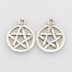 6 st. Nickelfra silverpläterade Pentagram hängen