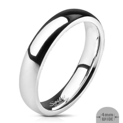 4 mm. bred slät convex ring i Glansig Spegel Polerad  316L stål 4½ = 15,49 mm i diameter