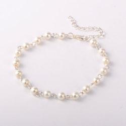 Handgjord Silverpläterad Vristlänk med vita pärlor , 23 mm