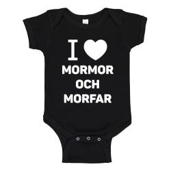 Jag Älskar Mormor och Morfar - Baby Body svart Svart - 6 månader