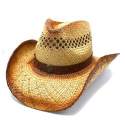 Cowboyhatt med brunrem och nitar - handgjord hatt   Brun