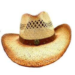 Cowboyhatt med emblem och runda nitar