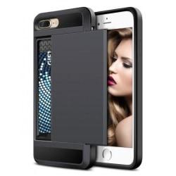 iPhone 7 Plus Stöttåligt Skal med Kortfack Svart