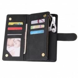 Samsung A20s Multifunktionellt Plånboksfodral Zipper 8-Fack Svart