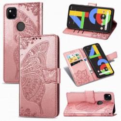 Google Pixel 4a 4G Plånboksfodral PU-Läder 4-FACK Motiv Fjäril Rosa guld