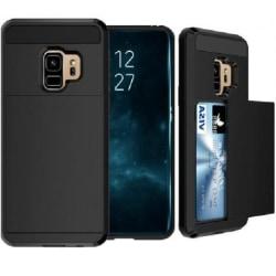 Samsung S9 Plus Stöttåligt Skal med Kortfack Svart