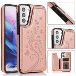 Samsung S21 Stöttåligt Skal Korthållare 3-FACK Flippr® V2 Rosa guld