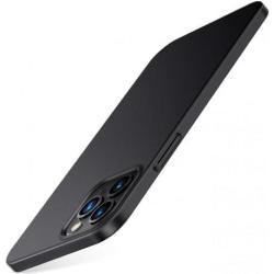 iPhone 12 Pro Max Ultratunn Gummibelagd Mattsvart Skal Basic® V2 Svart