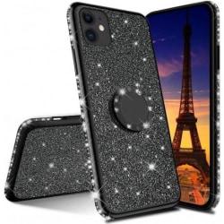iPhone 11 Pro Max Stötdämpande Skal med Ringhållare Strass Rosenguld