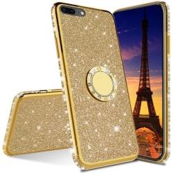 iPhone 7 Plus / 8 Plus Stötdämpande Skal med Ringhållare Strass Rosenguld