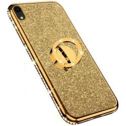 iPhone XR Stötdämpande Skal med Ringhållare Strass Guld
