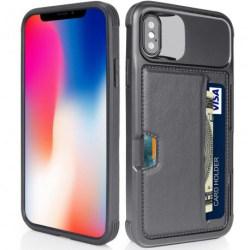 iPhone XR Stöttåligt Skal med Kortfack Solid® V2 Svart