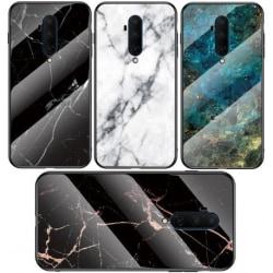 OnePlus 8 Marmorskal 9H Härdat Glas Baksida Glassback® V2 White Variant 2