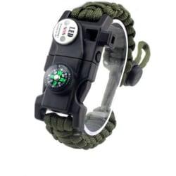 Paracord Survival Armband Taktiskt Nödutrustningssats Grön