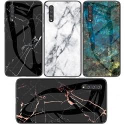 Samsung A50 Marmorskal 9H Härdat Glas Baksida Glassback® V2 Black Variant 1