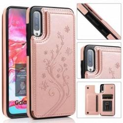 Samsung A70 Stöttåligt Skal Korthållare 3-FACK Flippr® V2 Rosa guld