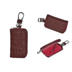 Bil nyckelfodral i Äkta Kalvskinn krokodil mönster Rödbrun Brun
