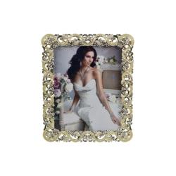 Elegant Fotoram Lätt Glitter Blommönster 20 X 24 CM Silvergrå