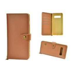 Plånboksfodral Äkta Läder till Samsung S10 Plus Brun LightBrown
