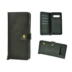Plånboksfodral Äkta Läder till Samsung S10 Plus Svart Svart