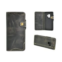 Plånboksfodral Äkta Läder till Samsung S9 Svart Black
