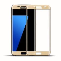 1x 3d Härdat Glas för Samsung Galaxy S6 Edge Hårt Skyddsglas Sta Guld
