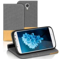 Denim Mobil-Skal för Samsung Galaxy S4 Mobilskal Konstläder Magn grå