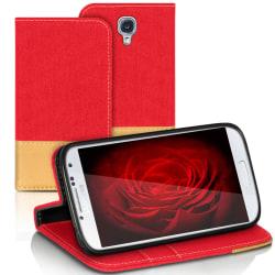 Samsung Galaxy S4 Mini Telefon Mobilskal Magnet Denim Mobilskydd Röd