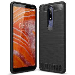 Kolfiber Skal för Nokia 3.1 Plus Mobilskal Mobil Matt Silikon St Svart