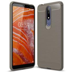 Mjukt Gummi Skal för Nokia 3.1 Plus Matt Mobilskal Stötsäker TPU grå